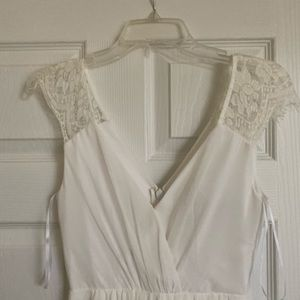 Long White Lace V-cut Dress